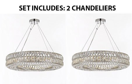 contempory lighting. Set Of 2 - Crystal Spiridon Ring Chandelier Chandeliers Modern / Contemporary Lighting Pendant 32\u201d Contempory