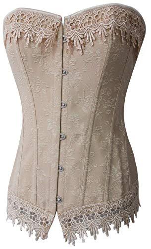 - Alivila.Y Fashion Womens Sexy Vintage Renaissance Lace Trim Corset Bustier 2606-Cream-4XL