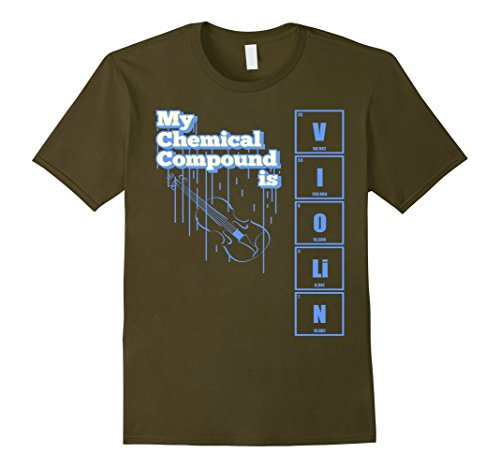 Mens Violin T Shirt Bank Geek Apparel Chemical Compound Tee Xl Olive
