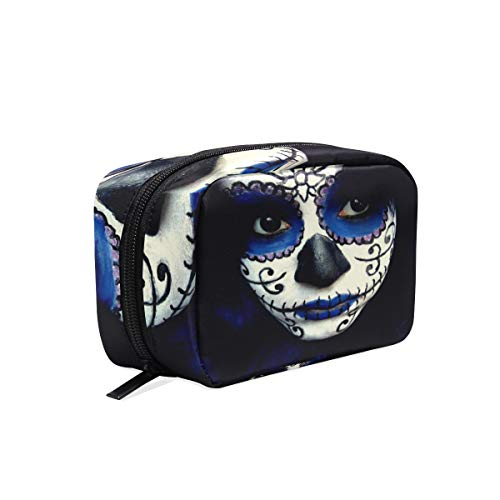 Cosmetic Bag Guy Sugar Skull Makeup Customized Makeup Bags Square Organizer Portable Pouch Pencil Storage Case for Women/Girls -