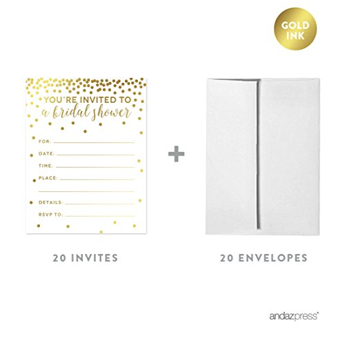 (Andaz Press Metallic Gold Confetti Polka Dots Party Collection, Invitations with Envelopes, Bridal Shower, 20-Pack)