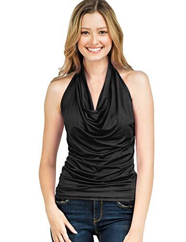 Silk Neck Dress Halter (CLOVERY Women's Halter Neck Draped Front Open Back Top Black M)