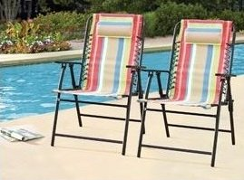 Folding Bungee Chairs Set Of 2 Multi Color The Outdoor Chairs Add A Splash  Of Color To Deck Furniture. Guaranteed. The Sling Style With Headrest Folds  For ...