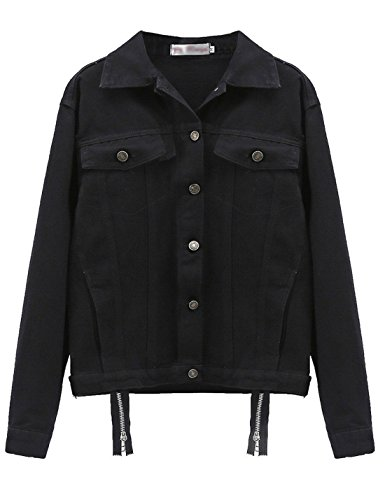Yeokou Women's Casual Loose Baggy Boyfriend BF Denim Trucker Jacket Outercoat (Small, Black) by Yeokou