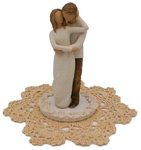 Willow Tree Wedding Themed Figurine with Westbraid Doily (Together Cake Topper, 27162)