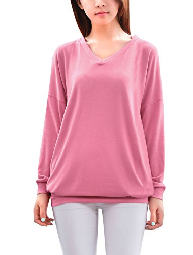 Rayon Women Sweatshirt (Allegra K Lady Pure V Neck Dolman Sleeve Hooded Sweatshirt XL Rose Pink)