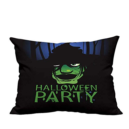 YouXianHome Home DecorCushion Covers Halloween Party Design Template with Witch and Place for Text. Comfortable and Breathable(Double-Sided Printing) 13.5x19 -