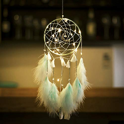 XiaoMtou LED Fairy Light Dream Catcher Moon Crystal Dream Catchers with Light Green Feather Native American Handmade Ornament -