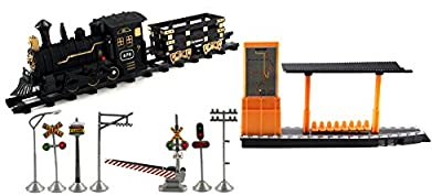 Classical 678 Express Battery Operated Toy Train Set w/ 2 Train Cars, 8 Railway Tracks