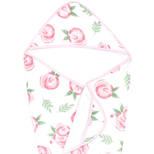 Muslin Hooded Bath Towel for Baby or Toddler with Terry Cloth Interior 33 inchesGrace Floral