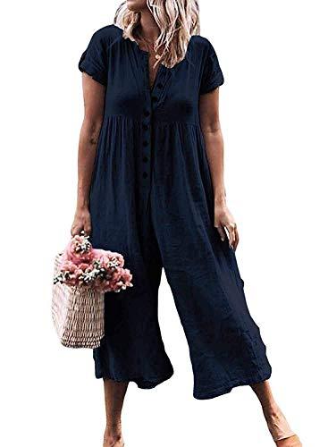 (LAMISSCHE Womens Casual Button Down Short Sleeve Jumpsuit Romper Solid Loose Wide Leg Long Pants(Navy Blue,M))