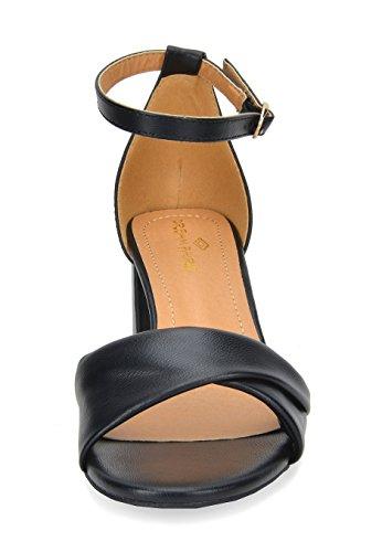 Dröm Par Kvinna Duchess Mode Blocket Krängt Sandaler 03-black Pu