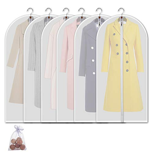 allhom dust Proof Clothing Bags - Pack of 6 pcs 60 inch Large Hanging Garment Bags and Cedar Balls, for Coat, Long Dress, Gowns, and Dance Costumes