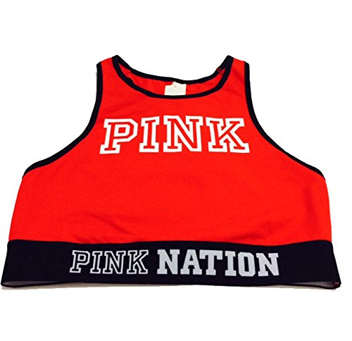 VICTORIA'S SECRET Women's PINK Nation Cotton Bra Top Medium (A-C) Red (Bra Pink Secret Victorias)
