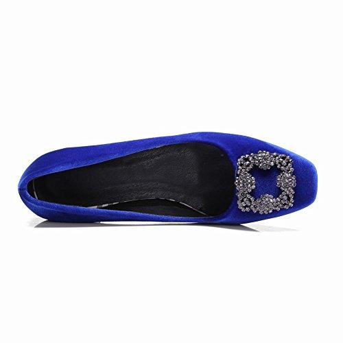 5 Dress Blue Heel Womens Square Pumps Toe Mid Shoes Carolbar Rhinestones 5 CwqvHgY