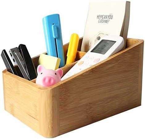 Schreibtisch-Organizer aus Bambus, 14 x 19,7 x 10,5 cm, 4 Raster, kreativ, geeignet für Spielzeug, Handys, Kopfhörerkabel/Drähte, Kleinteile, Fernbedienungen, Schreibwaren, Schmuck