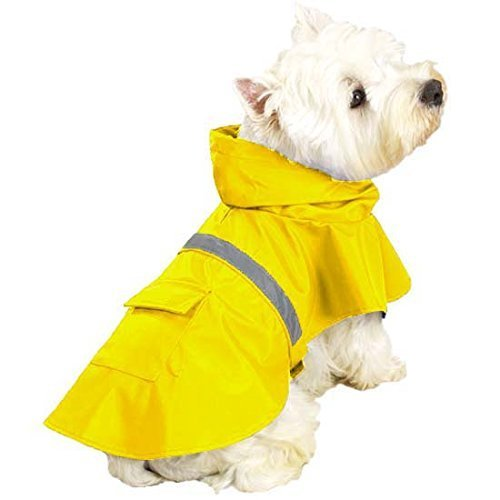 OCSOSO Pet Dog Slicker Raincoat Gear Brite Rain Jackets Dog Cat Hooded with Reflective Band (Yellow, XS Back: 10