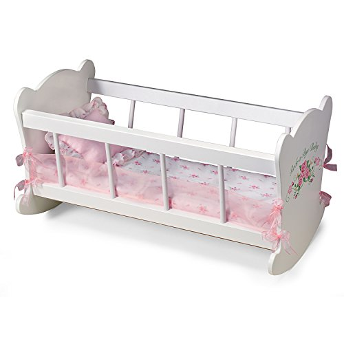 Furniture Rockabye Baby (Rock A Bye Cradle Baby Doll Accessory With Liner And Pillow by The Ashton-Drake Galleries)