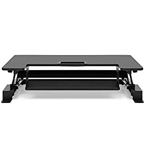 """Best Choice Products Height Adjustable Standing Desk Monitor Riser Gas Spring   36"""" Tabletop Sit to Stand Workstation"""