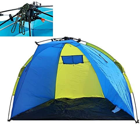 Leberna 3-4 Person Instant Automatic Beach Tent Sun Shelter One Touch Cabana Push Pop Up Popup Easy Setup Open Fold Family Umbrella Shader Outdoor Hiking Fishing Camping Picnic UPF 50 Protection