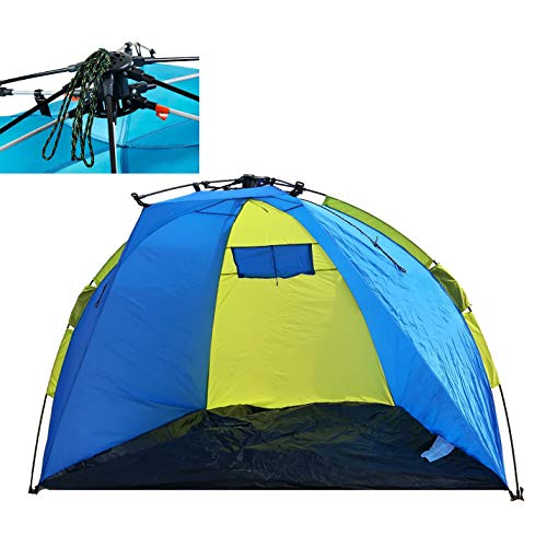 Leberna 3-4 Person Instant Automatic Beach Tent Sun Shelter | One Touch Cabana Push Pop Up Popup | Easy Setup Open Fold Family Umbrella Shader Outdoor Hiking Fishing Camping Picnic UPF 50+ Protection