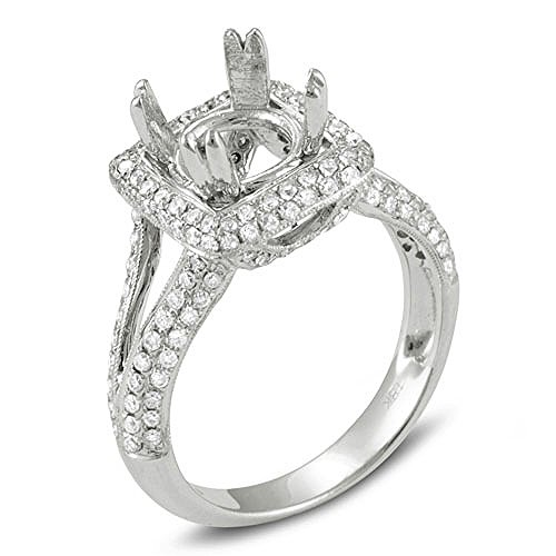 Dazzlingrock Collection 0.95 Carat (Ctw) 18k Round Diamond Semi Mount for Princess Diamond Engagement Bridal Ring (No Center Stone), White Gold, Size - Ring Princess Diamond Semi Mount