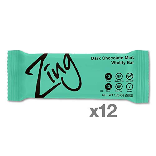 Zing Vital Energy Nutrition Bar, Dark Chocolate Mint, High Protein, High Fiber, Low Sugar, Real Dark Chocolate, Natural Peppermint, No Nuts, 12 Count