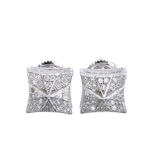 Sterling Silver Pave Dome - Bling Iced Out Men's Micro Pave 3D Sterling Silver Square Screw Back Earrings 484 S