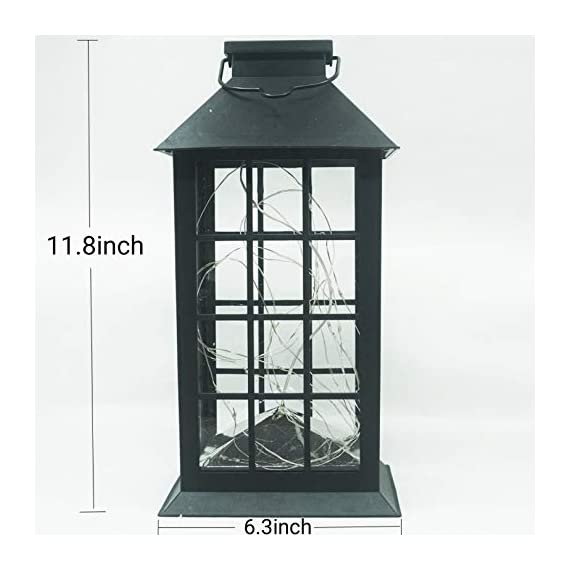 Solar Outdoor Lantern, Waterproof Hanging Solar Lantern with 30 LED Fairy Copper String Lights for Patio, Garden, Lawn… - CLASSIC DESIGN: Simple and elegant black frame rectangle shape with 30 LED warm fairy string lights, create a unique retro romance. SAFE LONG LIGHTING: Choosing the most popular string of lights inside the lantern instead of traditional candles, guarantees sufficient illumination without the danger of open flames. And after full charged, the solar lantern will automatically turn on at night and light up for 8 hours. PERFECT OUTDOOR DECOR: A movable hanging ring can be easily hung on anywhere, very suitable for your balcony, hallway, porch, courtyard, patio, garden, lawn. - patio, outdoor-lights, outdoor-decor - 41hByk9aZ9L. SS570  -