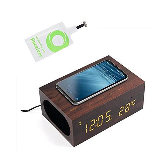 TUOP Qi Charger Wireless Bluetooth Wooden Speaker with Built in Mic, USB, NFC, Alarm Clock, LED Temperature/Time Display + Qi Wireless Charging Receiver Pad for iPhone 7/7 Plus/6/6 Plus/6s/6s Plus