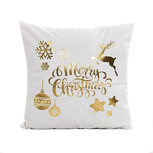 Gold Merry Christmas Throw Pillow Case Cushion Cover Cotton Linen 18 x 18 Inch for Sofa Couch(Deer and Snowflake)