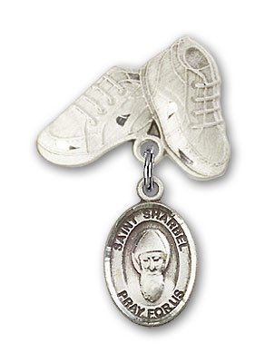 Sterling Silver Baby Badge with St. Sharbel Charm and Baby Boots Pin