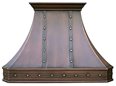 "Sinda Copper Kitchen Range Hood with High Airflow Centrifugal Blower, Includes SUS 304 Liner and Baffle Filter, High CFM Vent Motor, Wall/Island/Ceiling Mount, Width 30/36/42/48 in (W48""xH36""Wall)"