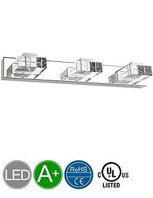 Vanity Lights,SOLFART 3 Head Glass Wall Bathroom Mirror Bath Long LED Vanity Lighting Fixtures