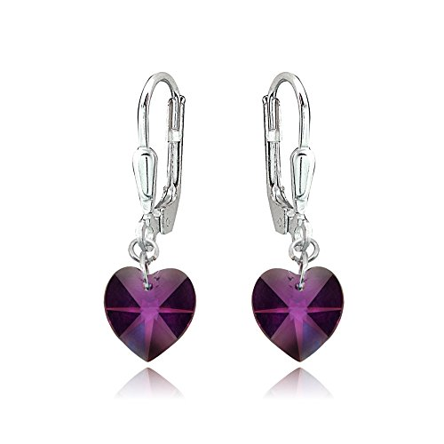 (Sterling Silver Purple Dainty Heart Dangle Leverback Earrings Made with Swarovski Crystals)