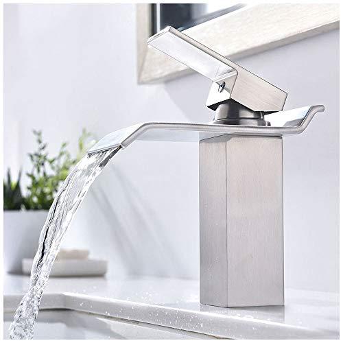 KINGO HOME Commercial Lavatory Single Handle Vanity Waterfall Bathroom Sink Faucet, Brushed Nickel by KINGO HOME