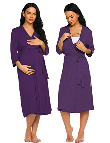 Ekouaer Women's Long Nightgown Loungewear Kimono Robes (Purple, Small)