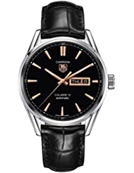 Tag Heuer Carrera Automatic Black Dial Black Leather Mens Watch WAR201CFC6266