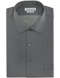 Van Heusen Men's Herringbone Regular Fit Solid Spread...