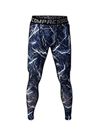 Chilie Mens Sport Leggings Stretchy Camouflage Lightning Pattern Compression Tights Fitness Pant