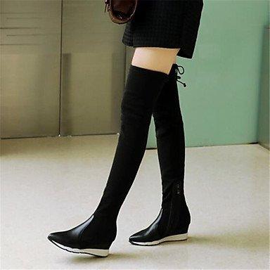 Damen Schuhe PU Winter Jane Mary Jane Winter Stiefel Keilabsatz Feder Für Normal Schwarz Rot ROT 8920bd