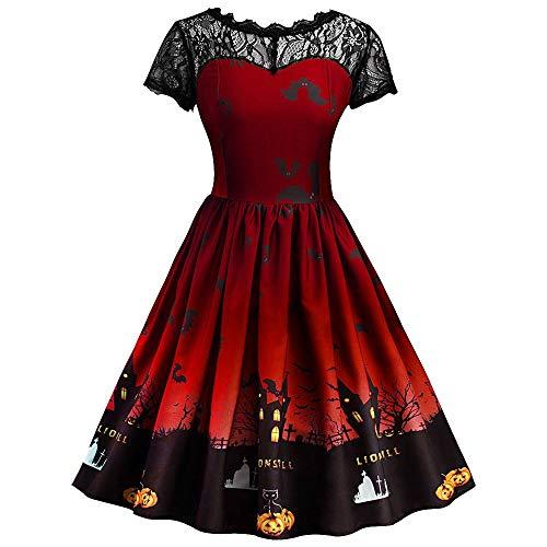 WUAI Halloween Dress for Women Plus Size, Women Pumpkin Skater Swing Dress A-line Lace Skull Dress(Red,XXX-Large)