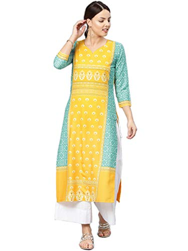 Vaamsi Women's Poly Crepe straight Kurta (VPK1583Par_ Yellow_ Large) Discounts Junction