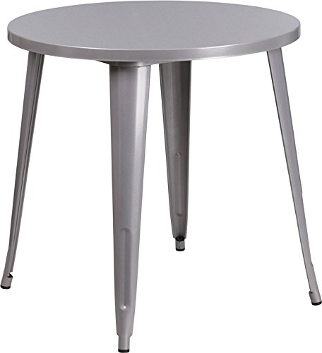 Flash Furniture 30'' Round Silver Metal Indoor-Outdoor - Metal Round Table Retro