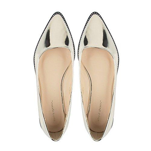 a punta Oro di Shoes Oro con punta impreziositi strass Ballerine Rihane sovrapposizione in Ideal dwYxXvOO
