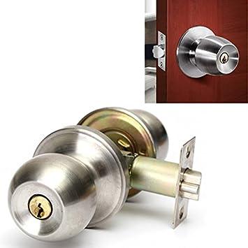 Amazoncom Bathroom Door Lock Stainless Steel Cylinder Round Knob - Bathroom door locks and handles