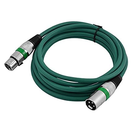 DealMux Microfone Altifalante XLR Homem para Mulher Mixer Cabo de Extensão 10Ft Long Green