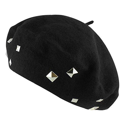Morerhats Women's Wool Square Studs Studded Beret Warm Winter Hat - Black (Beret Studded)