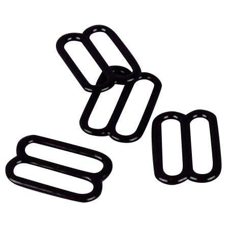 """Porcelynne Black Nylon Coated Metal Replacement Bra Strap Slide - 1/2"""" (13mm) Opening - 10 Pairs (20 Pieces)"""