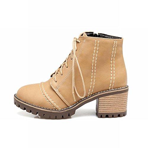 Mee Shoes Women's Outside Zip Mid Heel Short Boots Colour 1 FQi8v0Yy